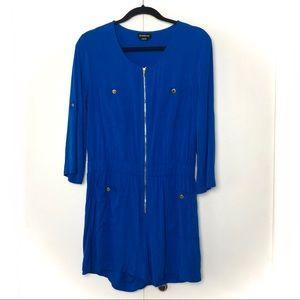 Bebe Zip Front Long Sleeve Romper Royal Blue
